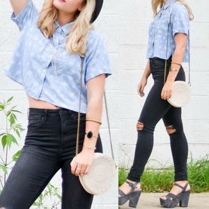 Hollister Palm Tree Cropped Chambray Button Down